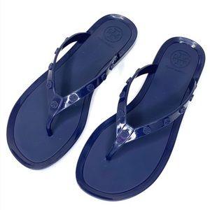 Tory Burch Logo-Studded Thong Flip Flops Sandals